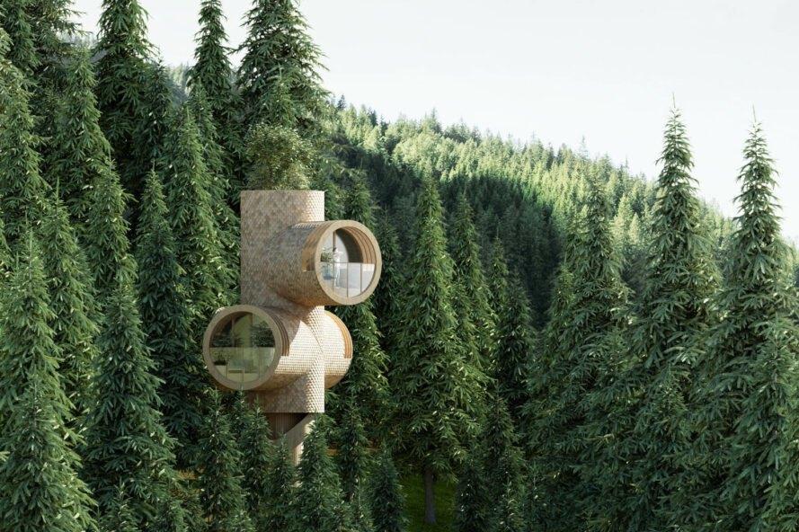 bert mini dom medzi stromami Rozprávkový Treehouse, inšpirovaný filmom Ja zloduch