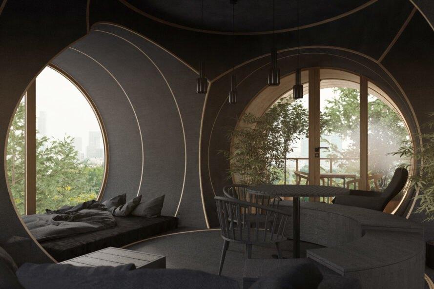 bert treehouse interier sedacky Rozprávkový Treehouse, inšpirovaný filmom Ja zloduch