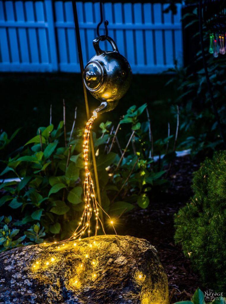 čajníková záhradná lampa