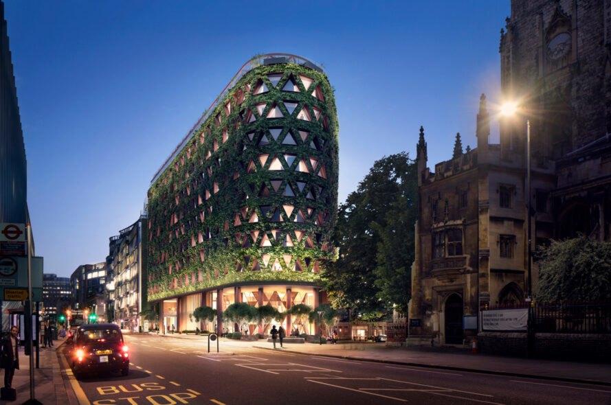 zelená stena hotela v londýne